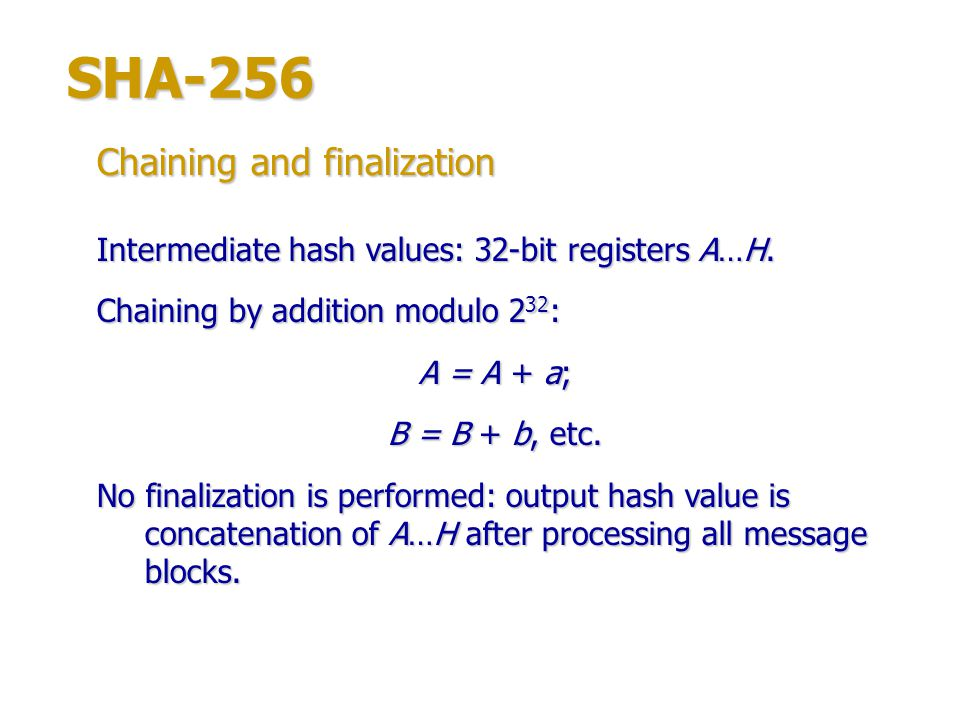SHA-256 Chaining and finalization