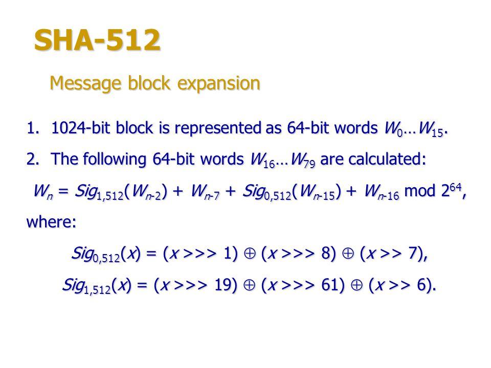Wn = Sig1,512(Wn-2) + Wn-7 + Sig0,512(Wn-15) + Wn-16 mod 264,