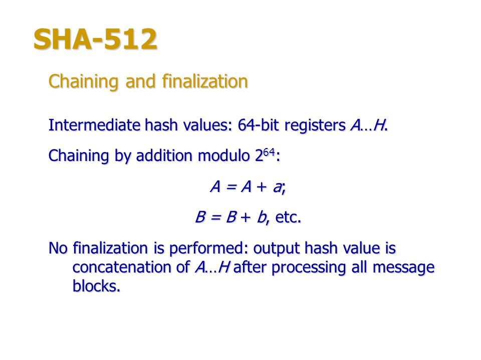 SHA-512 Chaining and finalization