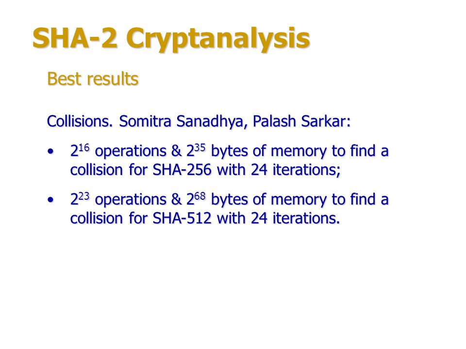 SHA-2 Cryptanalysis Best results
