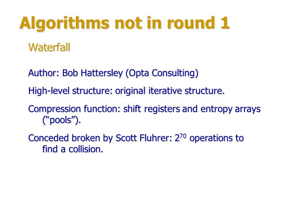 Algorithms not in round 1