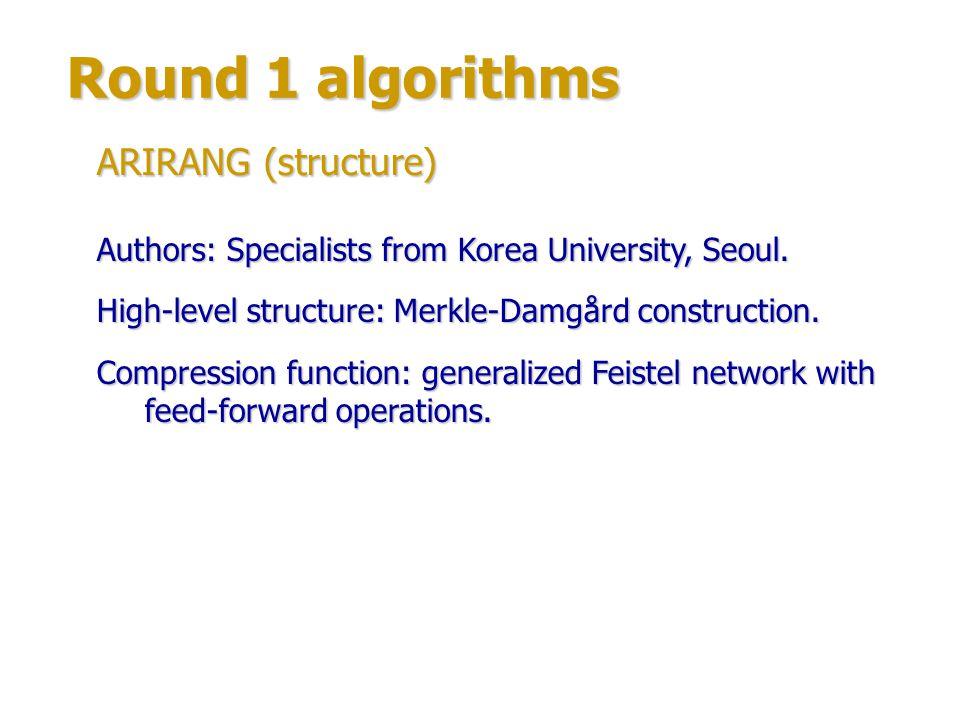 Round 1 algorithms ARIRANG (structure)