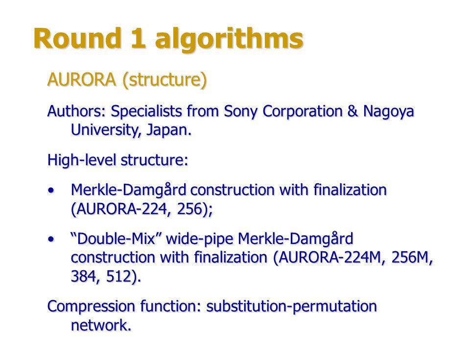 Round 1 algorithms AURORA (structure)