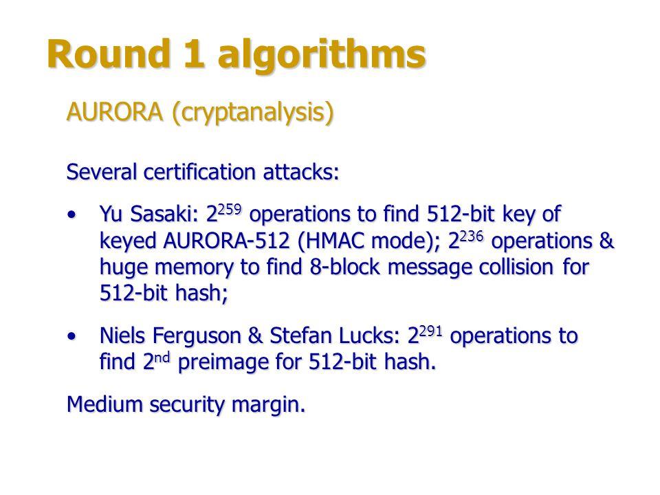 Round 1 algorithms AURORA (cryptanalysis)