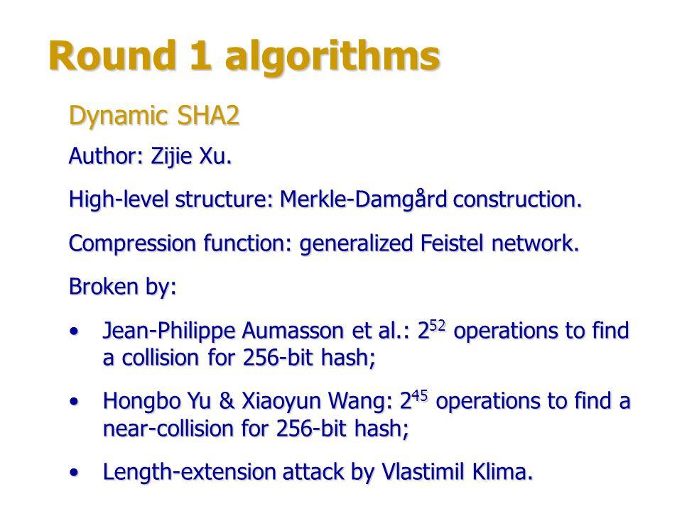 Round 1 algorithms Dynamic SHA2 Author: Zijie Xu.