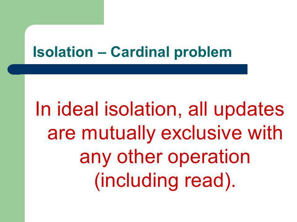 Isolation – Cardinal problem