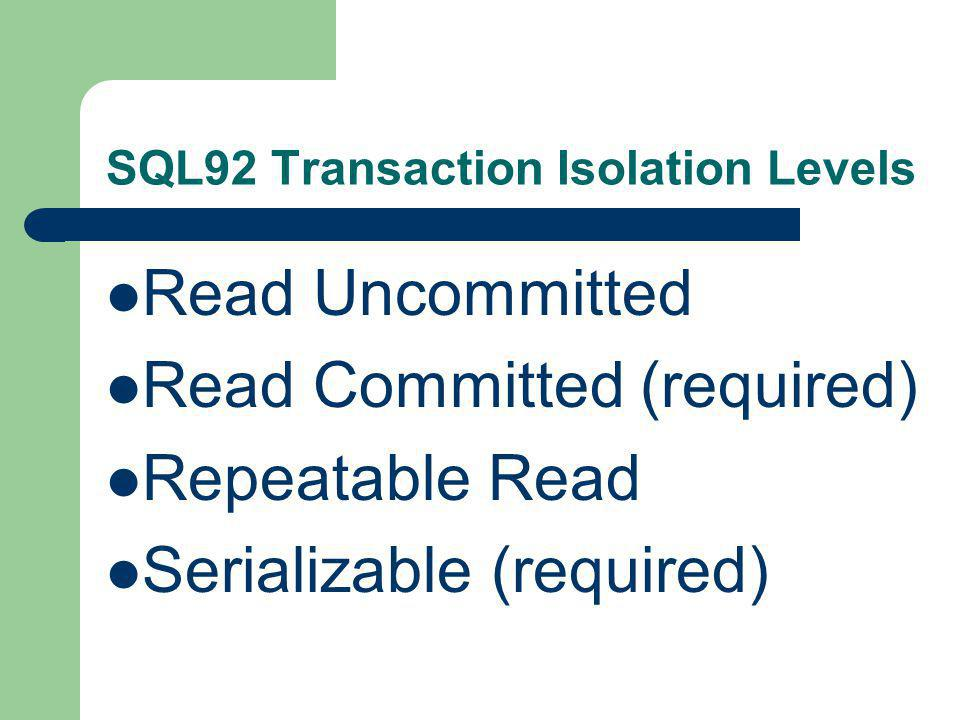 SQL92 Transaction Isolation Levels