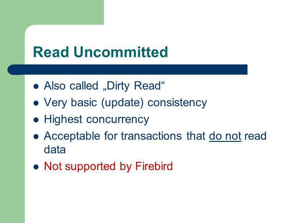 "Read Uncommitted Also called ""Dirty Read"