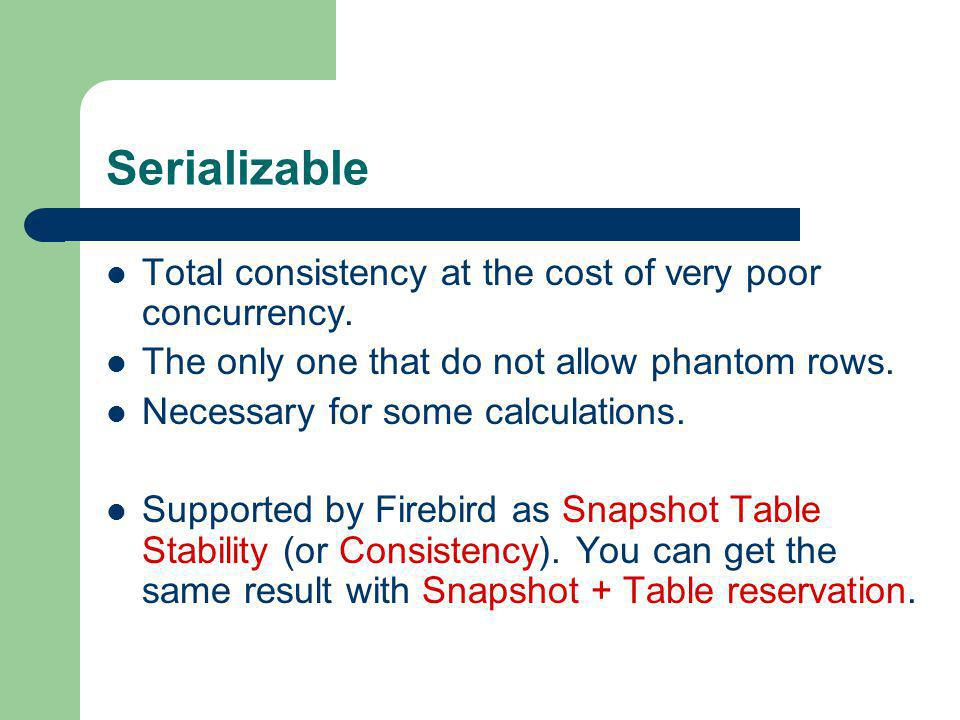 Serializable Total consistency at the cost of very poor concurrency.