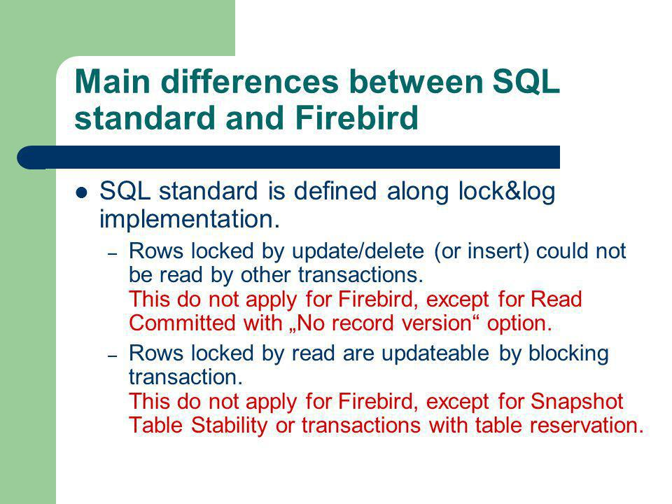 Main differences between SQL standard and Firebird