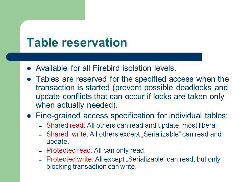 Table reservation Available for all Firebird isolation levels.