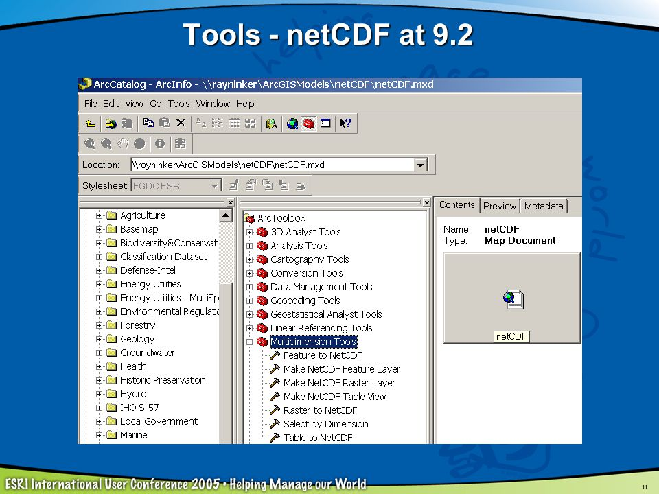 Tools - netCDF at 9.2