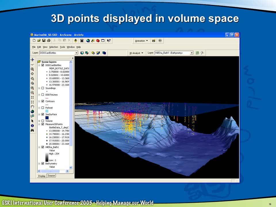 3D points displayed in volume space