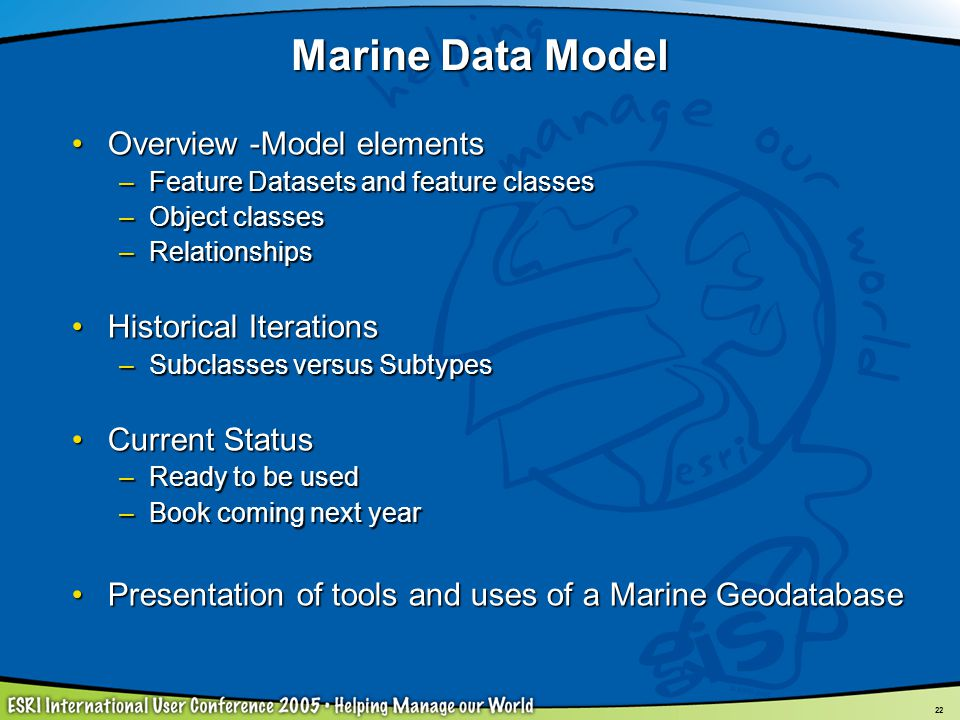 Marine Data Model Overview -Model elements Historical Iterations