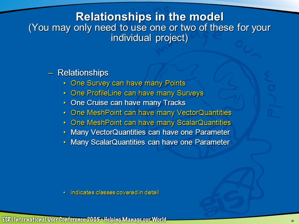 Relationships in the model (You may only need to use one or two of these for your individual project)