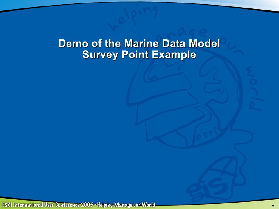 Demo of the Marine Data Model Survey Point Example