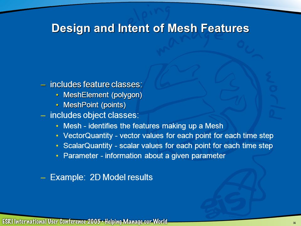 Design and Intent of Mesh Features