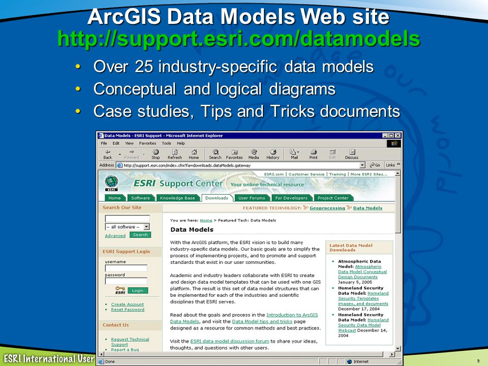 ArcGIS Data Models Web site