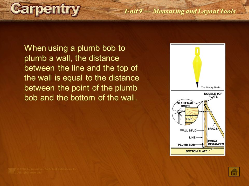 When Using A Plumb Bob To Wall The Distance Between Line And