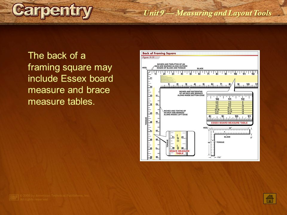 The back of a framing square may include Essex board measure and brace measure tables.