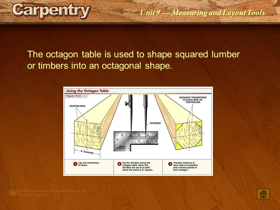 The octagon table is used to shape squared lumber or timbers into an octagonal shape.