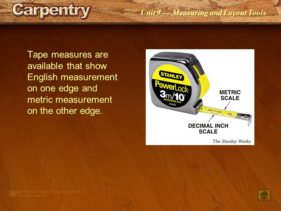 Tape measures are available that show English measurement on one edge and metric measurement on the other edge.