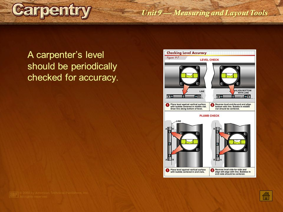 A carpenter's level should be periodically checked for accuracy.