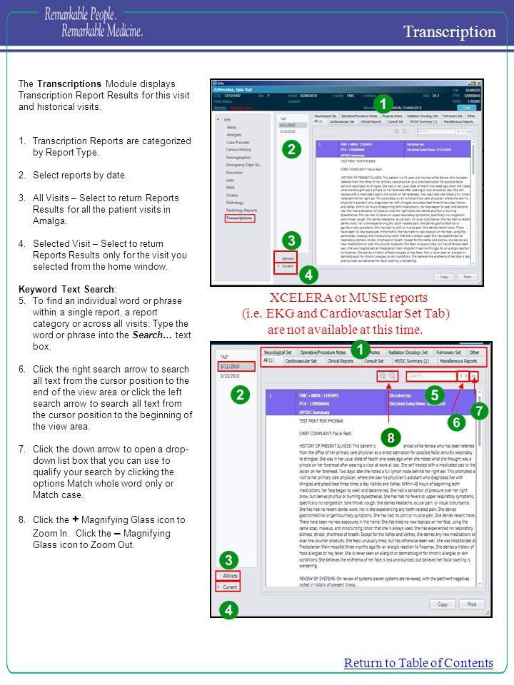 Transcription XCELERA or MUSE reports