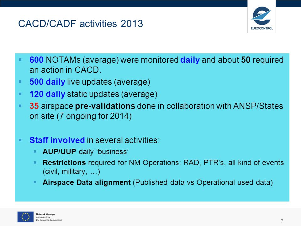CACD/CADF activities 2013 600 NOTAMs (average) were monitored daily and about 50 required an action in CACD.