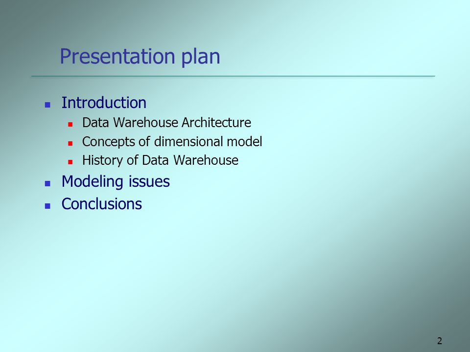 Presentation plan Introduction Modeling issues Conclusions