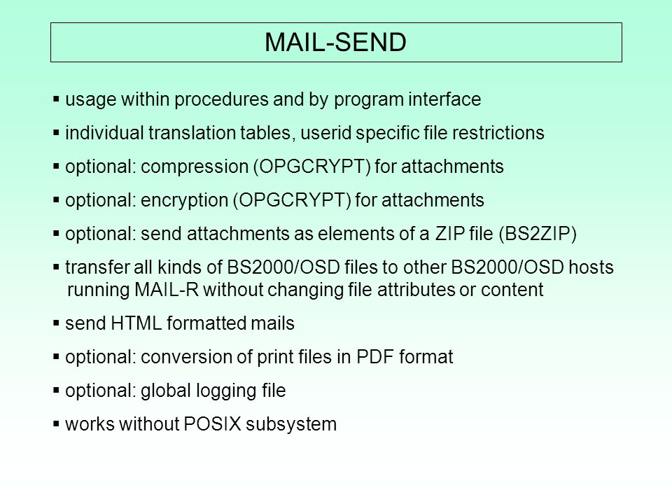 MAIL-SEND usage within procedures and by program interface