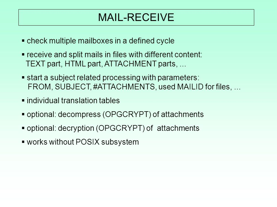 MAIL-RECEIVE check multiple mailboxes in a defined cycle