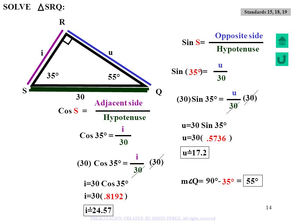 SOLVE SRQ: R i Adjacent side Opposite side Sin S= Hypotenuse i u 30