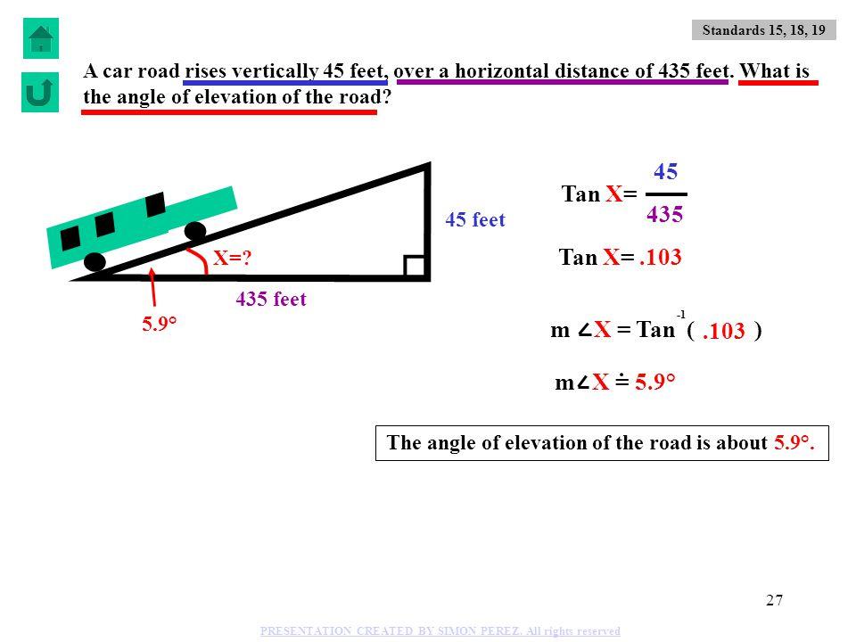 45 Tan X= 435 Tan X= .103 m X = Tan ( ) .103 m X = 5.9°