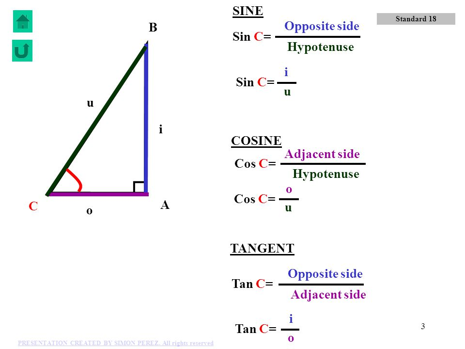 SINE B Opposite side Sin C= Hypotenuse i Sin C= u u i COSINE