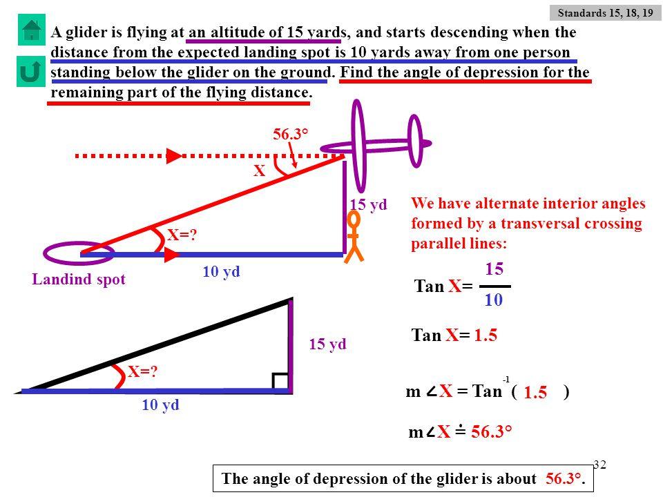 15 Tan X= 10 Tan X= 1.5 m X = Tan ( ) 1.5 m X = 56.3°