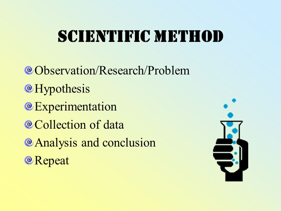 five scientific methods of research The scientific method the scientific method is an organized way that helps scientists (or anyone) answer a question or begin to solve a problem there are usually six parts to it.