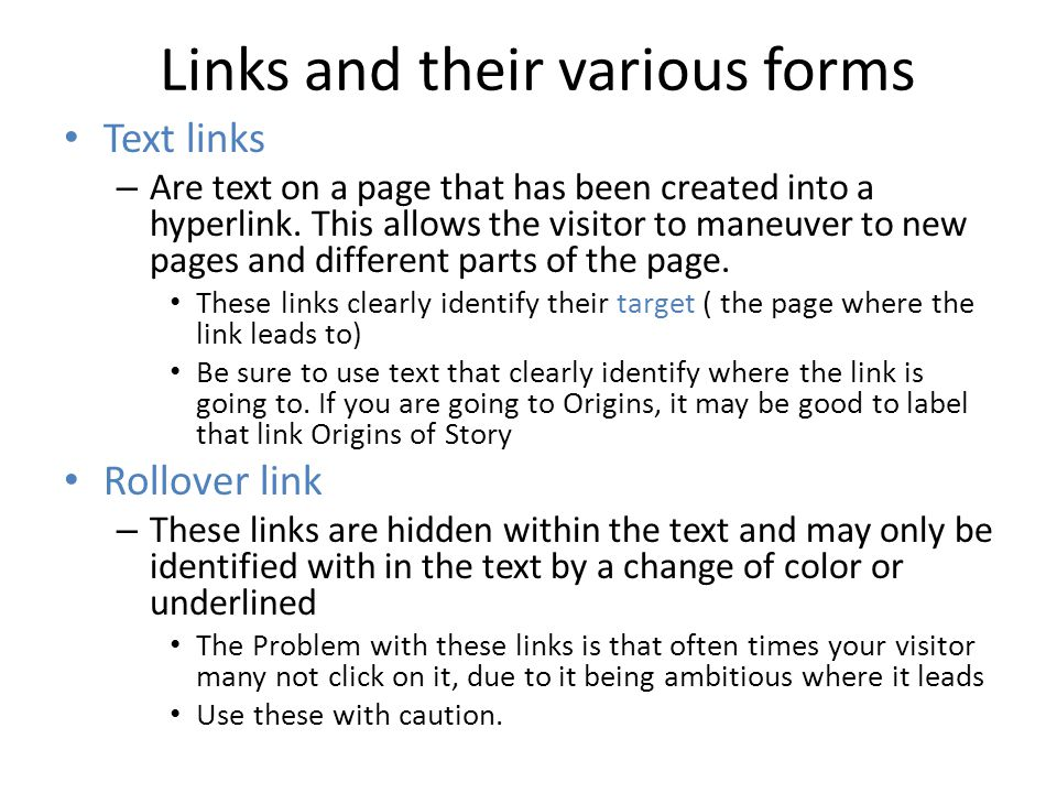 Links and their various forms