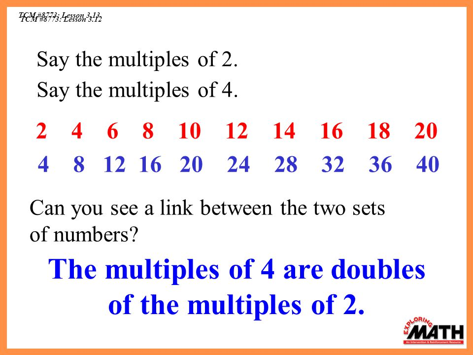 The multiples of 4 are doubles of the multiples of 2.