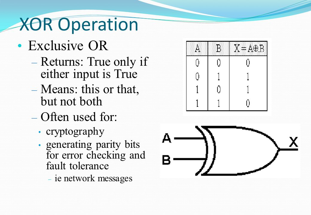 XOR Operation Exclusive OR Returns: True only if either input is True
