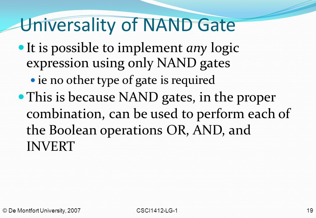 Universality of NAND Gate