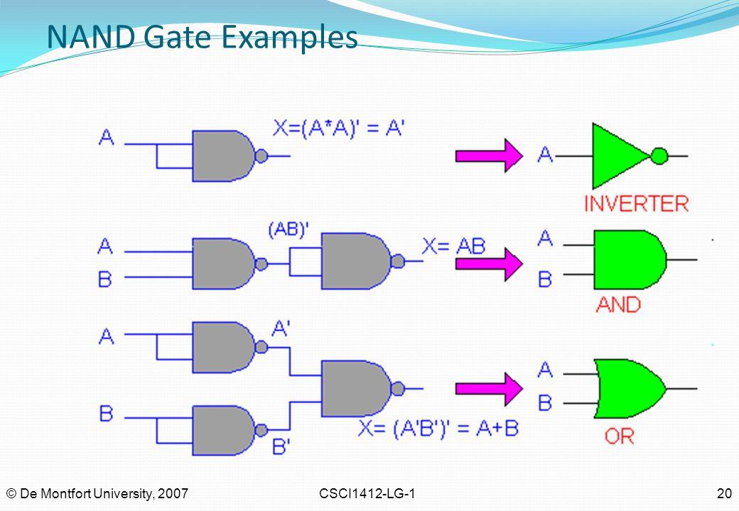 NAND Gate Examples © De Montfort University, 2007 CSCI1412-LG-1 20
