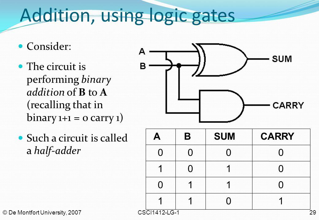 Addition, using logic gates