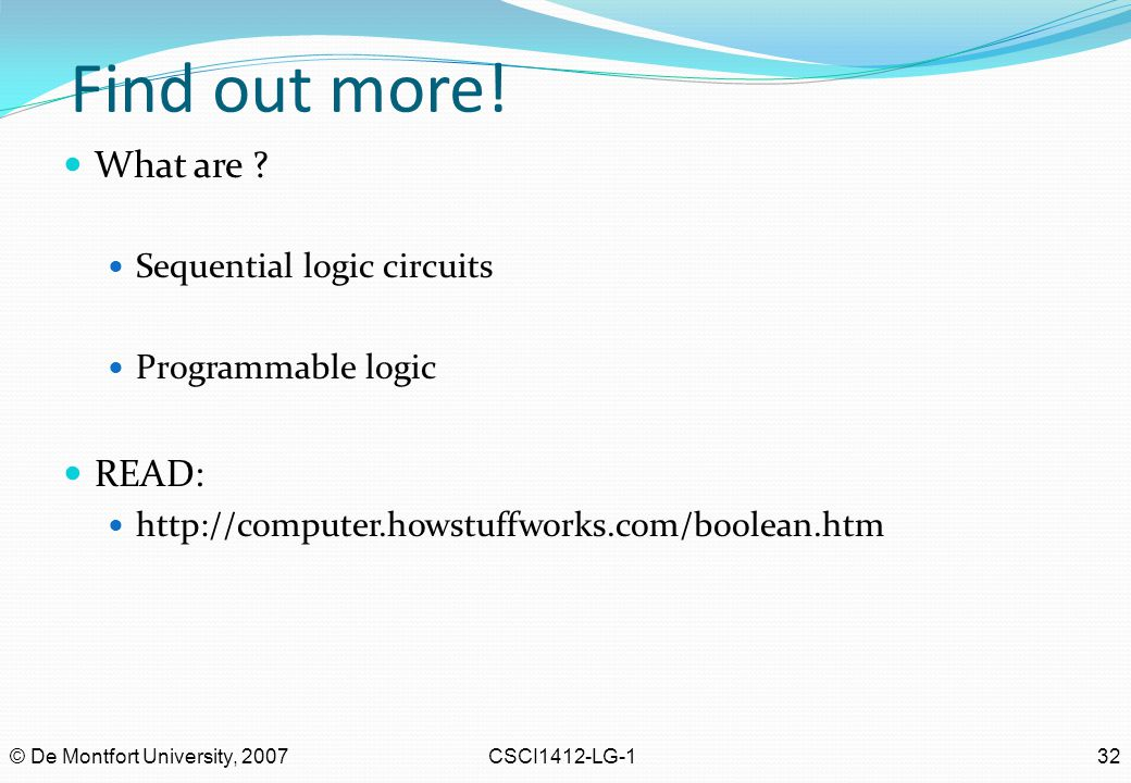 Find out more! What are READ: Sequential logic circuits