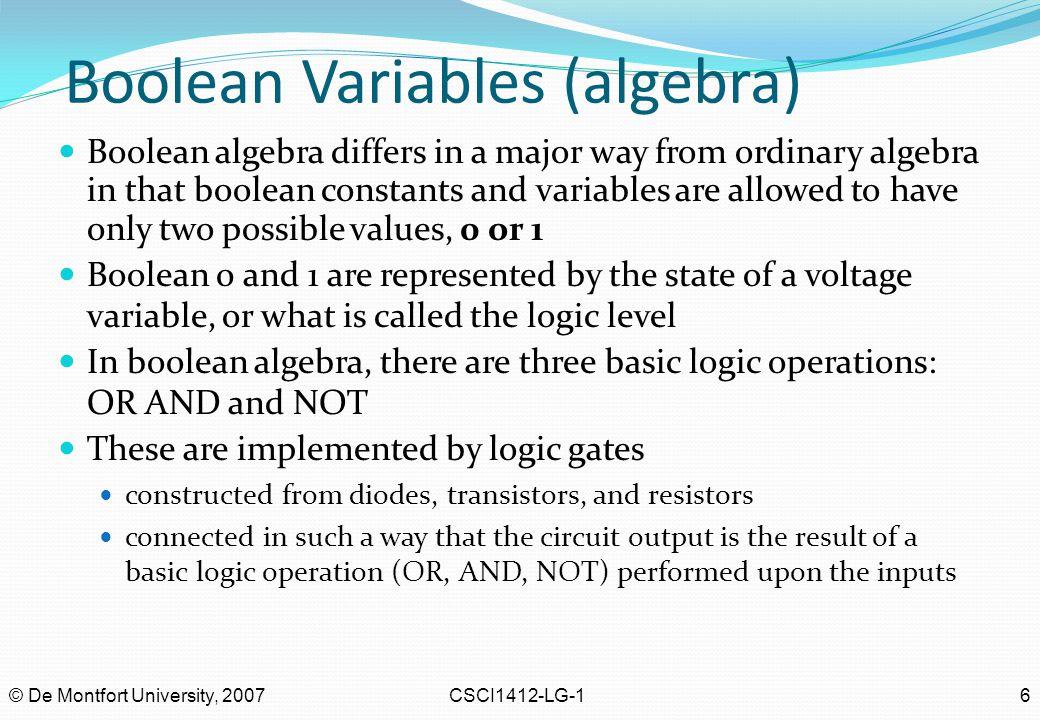 Boolean Variables (algebra)