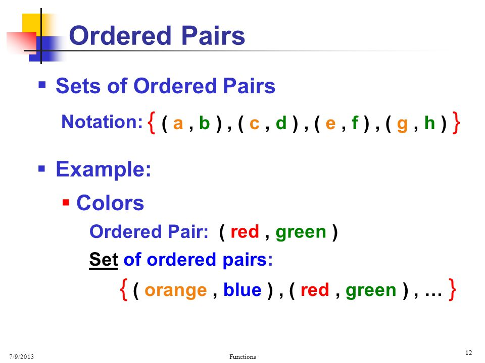 Ordered Pairs { ( a , b ) , ( c , d ) , ( e , f ) , ( g , h ) }