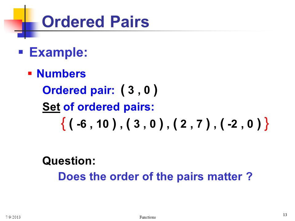 Does the order of the pairs matter