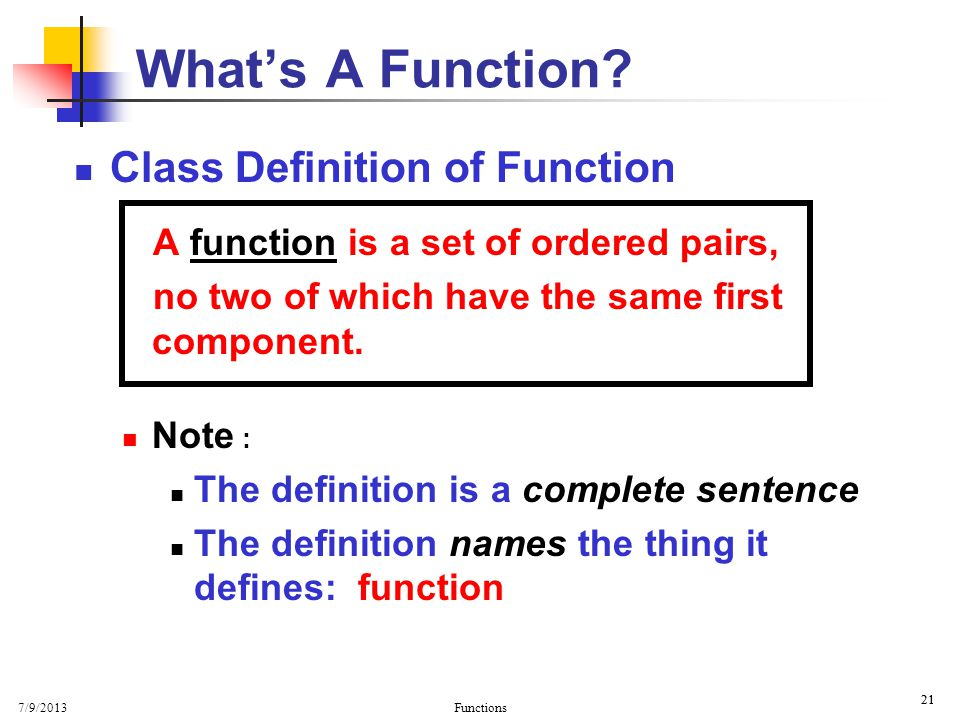What's A Function Class Definition of Function