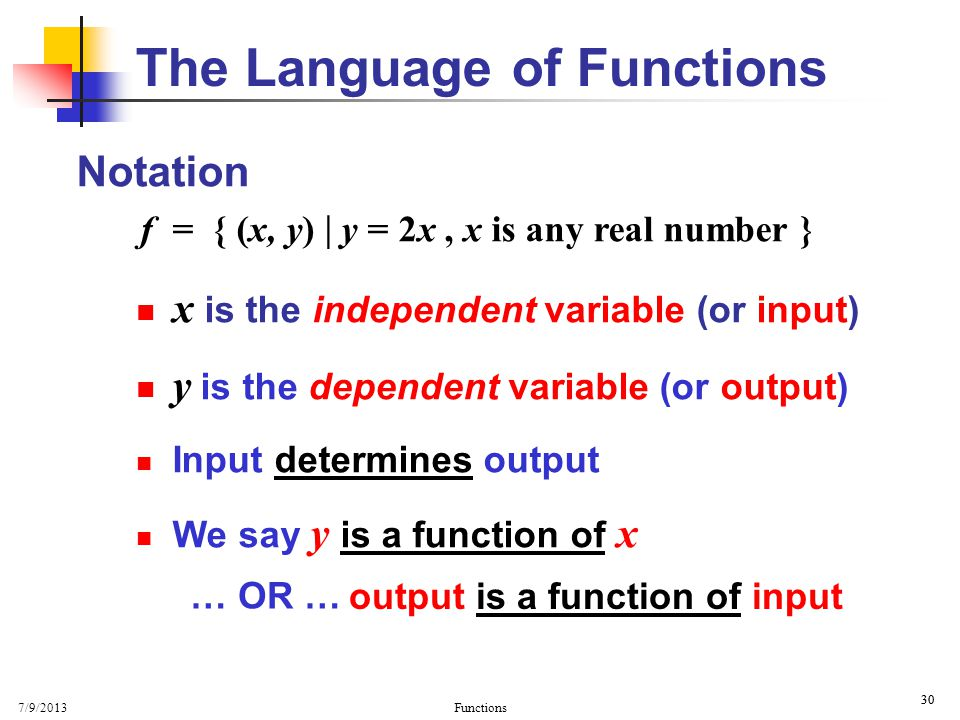 The Language of Functions