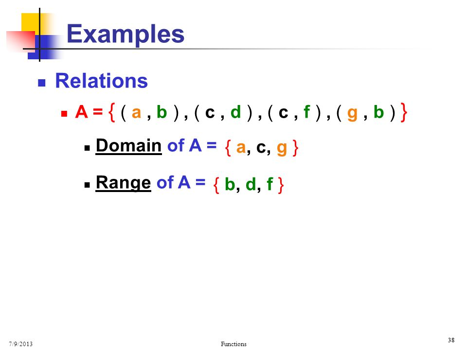 Examples Basic Properties. Relations. A = { ( a , b ) , ( c , d ) , ( c , f ) , ( g , b ) } Domain of A =